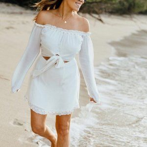 Lovers + Friends Sunrise White Off Shoulder Dress